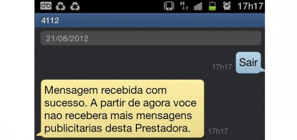 Cancelar sms propaganda